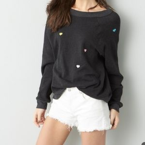 Wildfox Sommers Heart Embroidered Sweatshirt
